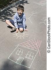 criança, desenho, sol, casa, asphal