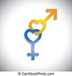 Male & female sex(gender) icons in heart shape- vector graphic