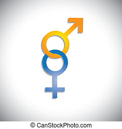 Colorful male & female sex(gender) icons or signs- vector...