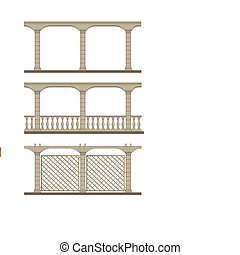 Set of vector pergola - Openwork design to decorate the...