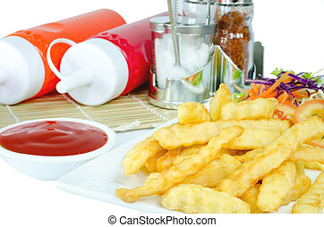 French Fries on plate and Ketchup .