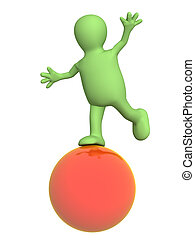 3d puppet, balancing on a red ball. Object over white