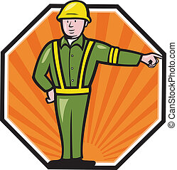 Emergency Worker Pointing Side Cartoon - Illustration of an...