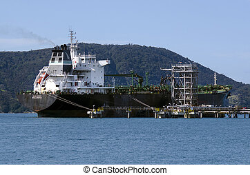 Oil Refinery - WHANGAREI,NZ - JULY 28:Tanker unloading at...