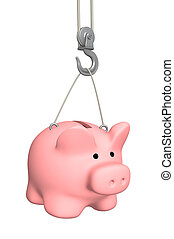 Piggy bank on crane hook Object over white