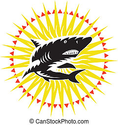 Shark Swimming Up Sunburst Woodcut