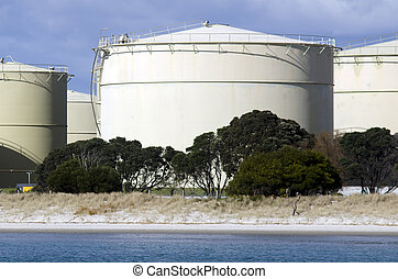 Oil Refinery - WHANGAREI,NZ - JULY 28:Oil tanks in Marsden...