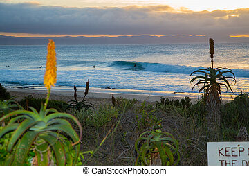 Supertubes, a world famous right hand surf spot. Here a...
