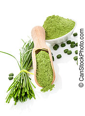 Wheatgrass powder and pills. Superfood. - Natural herbal...