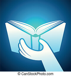 Vector book icon - hands holding textbook - education...