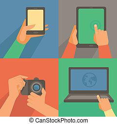 Vector set of flat icons - mobile phone, laptop, digital...
