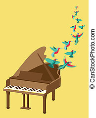 Vector music poster in flat retro style - grand piano and...