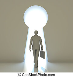 Businessman walking into a gate shaped like a keyhole