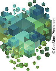 Abstract 3D cubes, vector - Abstract green and blue 3D...