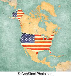 Map of North America - USA - USA (American flag) on the...