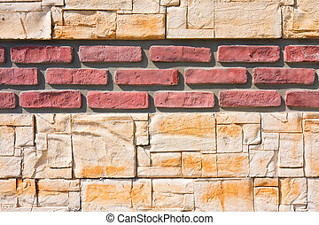 red and yellow  brick wall - background