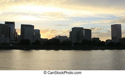 Sunset along River in Portland OR - Beautiful Sunset Along...