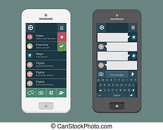 Mobile phone with flat user interface