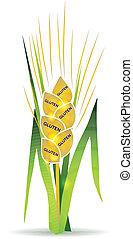 Wheat, gluten - Wheat illustration with gluten marks on each...