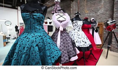 Display of elegant haute couture fa - Display of elegant 50s...