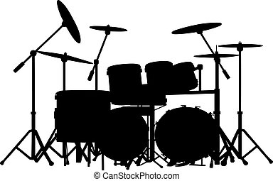 drums - vector drum kit silhouette on white background