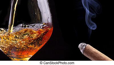 cigarro, aguardiente, Coñac, negro, Humo, o
