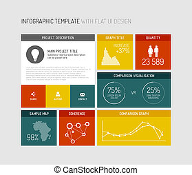 Vector flat user interface infographic - Vector flat user...