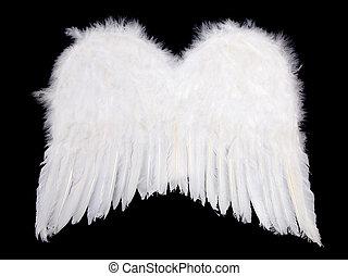 Whiite angel wings on black