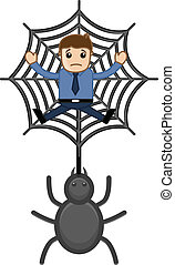 Trapped in Spider Web Vector - Drawing Art of Cartoon Scared...