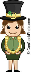 Leprechaun Girl with Horseshoe - Drawing Art of Cartoon...