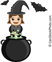 Cute Halloween Witch Cooking