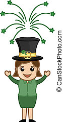 St Patricks Day Leprechaun Girl - Drawing Art of Cartoon...