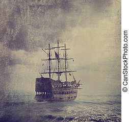 Old Pirate Ship - Old pirate ship in the sea. Texture added.