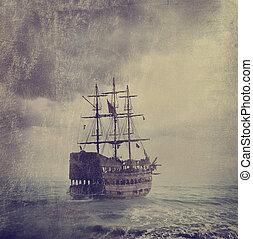 viejo, pirata, barco