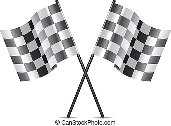 vector racing flags icon - vector checkered racing flags...
