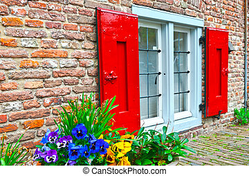 Pansy - Window with Red Shutters in the Dutch City
