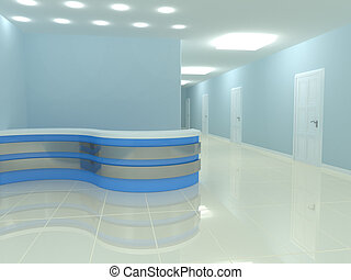 reception desk in the office. 3d rendered image