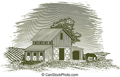 Woodcut Horse Barn - Woodcut-style illustration of a barn...