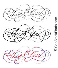 Thank You - 3 times Thank You hand written text as vector...