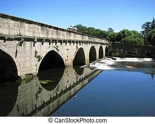 Bridge, Village Brantome on Dronne river