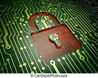 Security concept: Closed Padlock on circuit board background...
