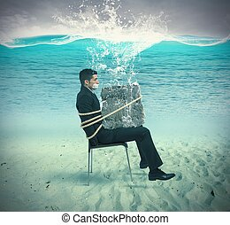 Trapped businessman - Businessman trapped in a chair with...