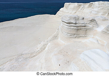 White abstract rock formations at Mylos island in Greece...