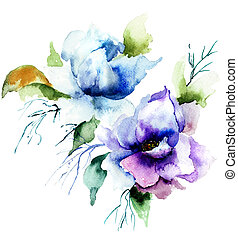 Beautiful Blue flower, Watercolor painting