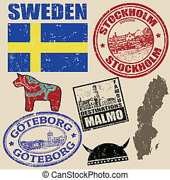 Set of Sweden stamps - Set of grunge stamps with Sweden on...