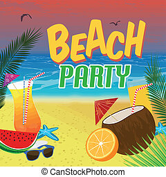 Beach Party poster background with palm leaves and cocktails...