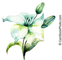 Hibiscus flower,watercolor painting