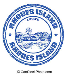 Rhodes Island stamp - Grunge rubber stamp with the Rhodes...