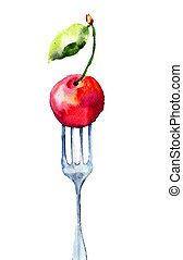Cherry on the fork, watercolor illustration