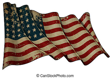 US Flag WWI-WWII 48 stars Historic Flag - Illustration of an...